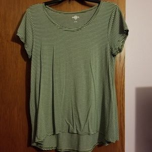 Green and white striped tee